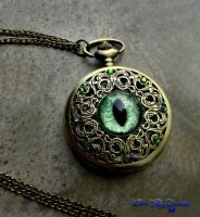 Regal Pocket Watch - Green peridot dragon eye by LadyPirotessa