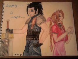Zack and Aerith watercolour by lustyvampire