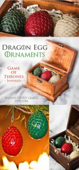 Dragon Egg Ornaments- Game of Thrones Inspired by 3direwolfmoon