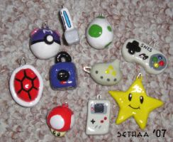 Nintendo Charms 10 pcs by Sethaa