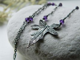Bryonia, Bryony - Elven Leaf with Amethyst by QuintessentialArts