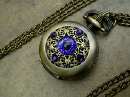 Petite Regal Necklace Watch Violet Void Eye by LadyPirotessa