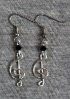 Silver and Black Treble Clef Earrings by craftymama