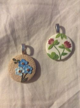 Forget Me Not and Clover Pendants by IAmBadAtUsernames