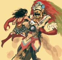 Wonder Woman vs Tezcatlipoca by MK01
