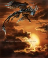 Fly over the sunset by Nagi-Wolf