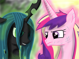Princess Cadence vs. Chrysalis by Ezynell