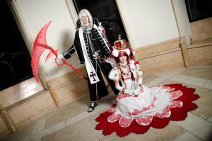 Abel Nightroad and Esther Blanchett by Tazziecosplay