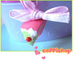 Pink cake phone strap by coffishop