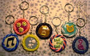 MLP Cutie Mark Keychain - Backgroun Ponies Set 1 by leiko