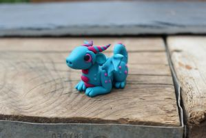 Turquoise Polymer Clay Baby Dragon by RaLaJessR