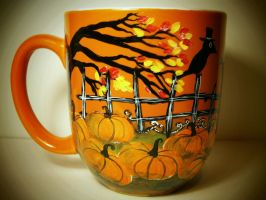 Pumpkin Patch - Handpainted mug (for sale) by InkyDreamz