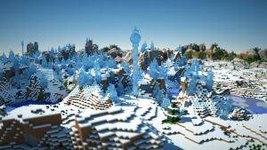 Ice spikes Minecraft 1.7.2 rendered in Octane. by davidbrinnen