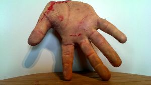 latex severed human hand details by Owlbites