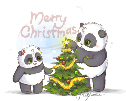 Christmas Pandas by Curly-Qs
