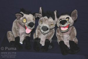 Ed, Shenzi and Banzai plush by dapumakat