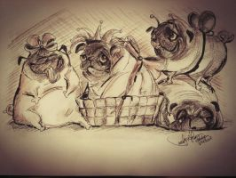 Pug Party by TamiTw