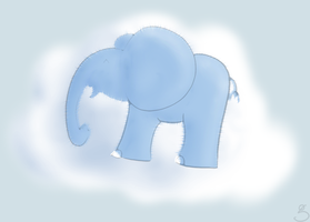 Fluffy elephant on a Cloud by kaolincash