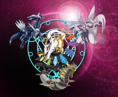 Arceus and the Trio of the Dimensions by Enclave-Triguard