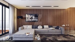 modern wood living room by vermillion3D