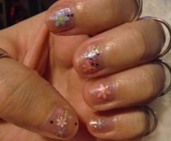 Nails with flower stickers 2 by Amazinadrielle