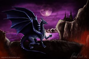 Blue Dragon in the moonlight by Vapolord