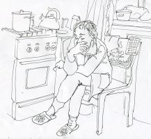 Sketch in the kitchen by soiseiseke