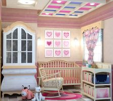 PINK CRADLE ROOM FOR A BABY GIRL by rj-king