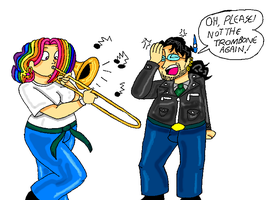 Ariel Takes Up Trombone -Color by TromboneGothGirl84