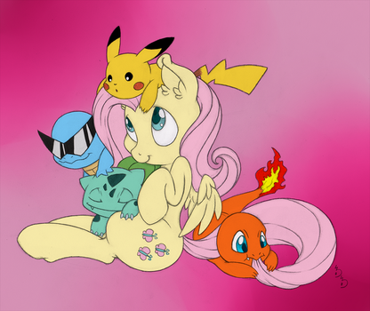 PKMN Trainer Fluttershy (colored) by Dragonfoorm