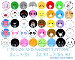 Buttons Pins for Sale by shiawase-chan