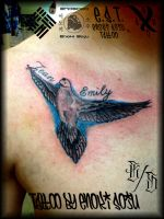 His and Hers Dove Tattoo w/Script by Enoki Soju by enokisoju