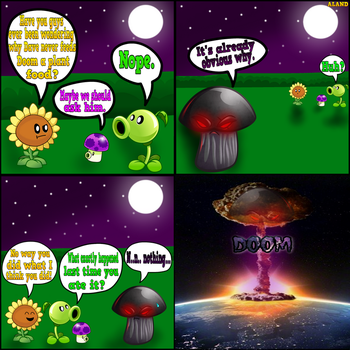 Plants vs Zombies Comic: DoomShroom And PlantFood. by ALAND420
