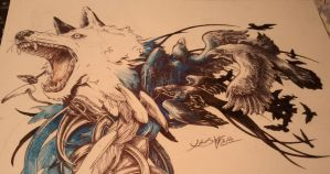 Tatto design: wolf and crows WIP II by Kaos-Nest