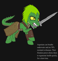 Ponified Skyrim loading screen: Argonian bandit by glue123