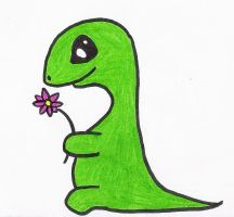 Dino and the flower by OnlyMyDraws