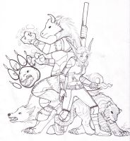 WoW -- Hunter and Druid ink by ashkey