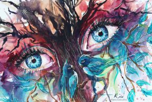 eyes of the trees detail by Kris-Kamikakushi