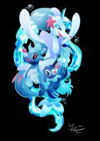 Popplio, Brionne and Primarina by Ilona-the-Sinister