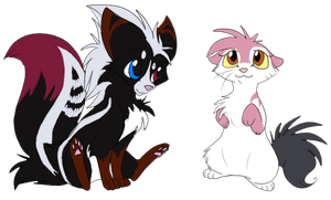 Little skunk foxes by Ninchiru