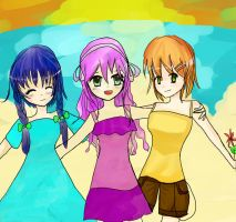 Combined drawing: The beach by all-the-lovely-death