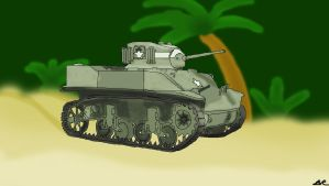 M5A1 Stuart with background by benracer