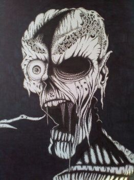 Stippled Zombie by scunnybuns