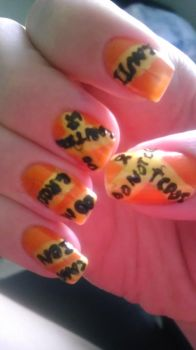 Caution Tape Nails by wolfgirl4716