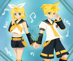 -Kagamine Rin and Len- by Na-Nami