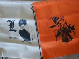 L and Ichigo drawstring bags by RowanRayne