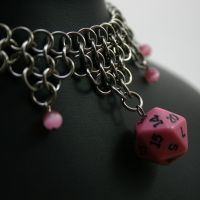 Pink D20 Necklace II by Utopia-Armoury