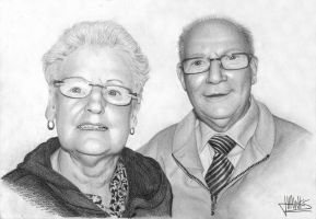 Grandparents pencil portrait by JoeyHawks