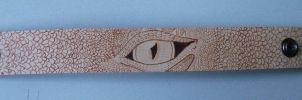 Eye of the Dragon Pyrography Leather Wristband by weisewoelfin