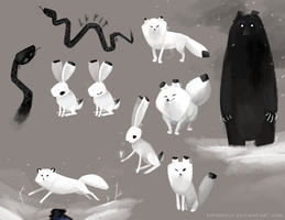 Arctic foxes and other animals by Kipine